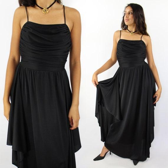 70s black spaghetti strap full length evening dres