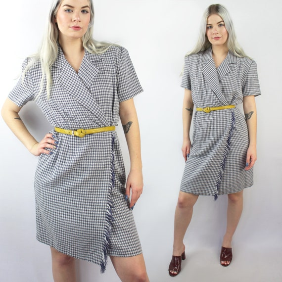 90s does 40s navy and white plaid wrap dress, Size