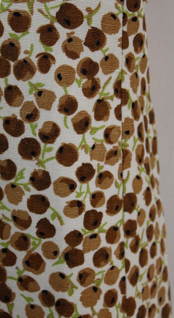 60s Vintage brown ditsy floral print mini dress w… - image 6