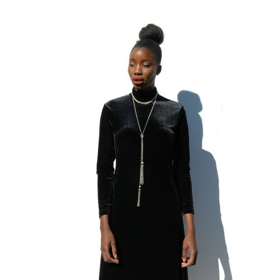90s Vintage black velvet high neck maxi dress, GO… - image 3