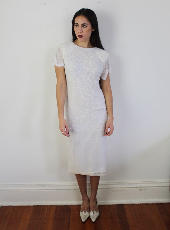 90s heavy beaded silk wedding dress, 20s inspired… - image 2