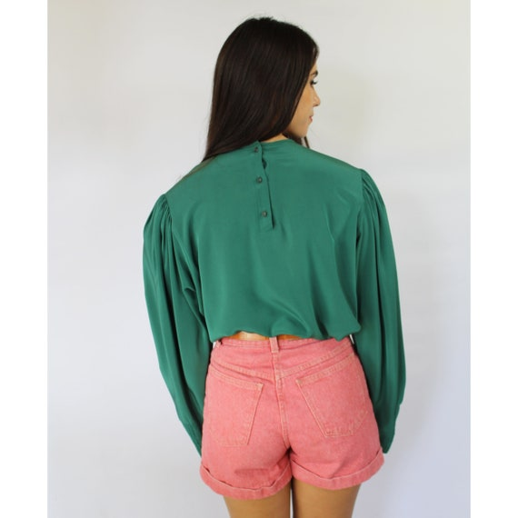 80s teal green pleated bishop sleeve blouse, Larg… - image 7
