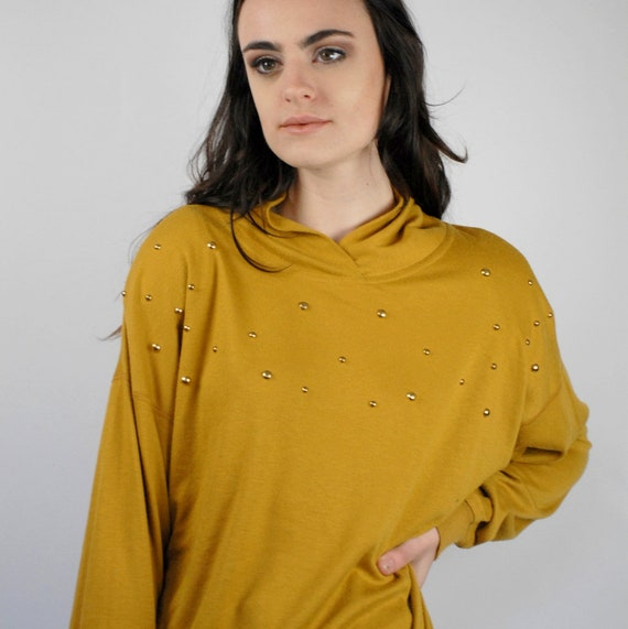 80s mustard knit crew neck dolman sleeve pullover  mustard sweatshirt  goldenrod knit top  yellow ochre  80s vintage knits  **