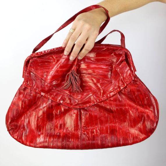 90s red patchwork leather shoulder purse, red shou