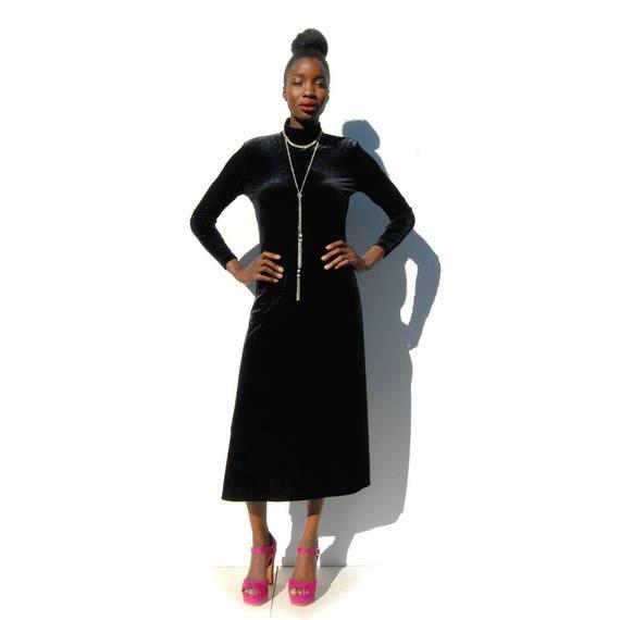 90s Vintage black velvet high neck maxi dress, GO… - image 4