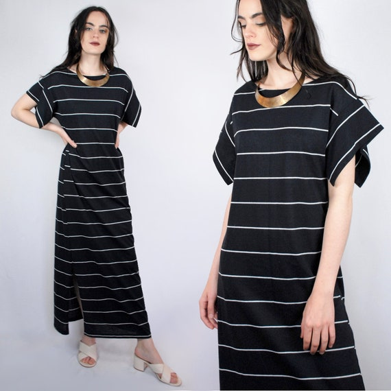 90s black and white striped knit short sleeve maxi