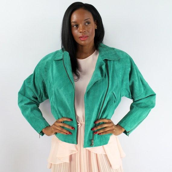 90s green suede bomber jacket, size Medium, MOTO j