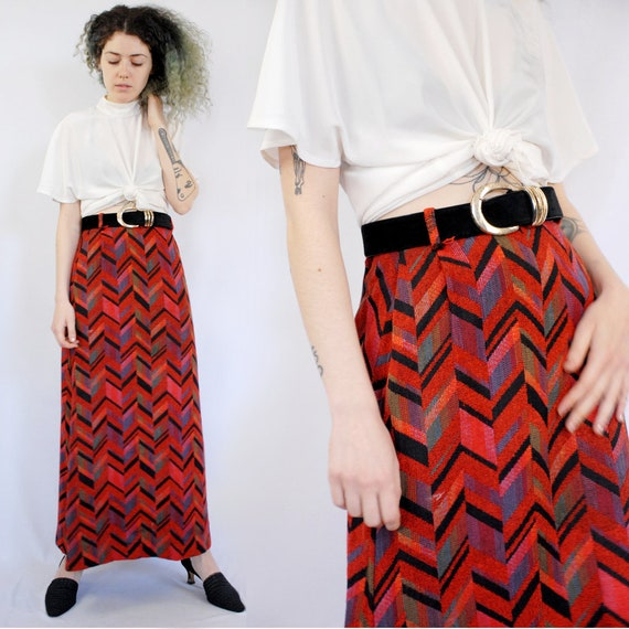 70s VINTAGE red chevron maxi pencil skirt, 24 inch