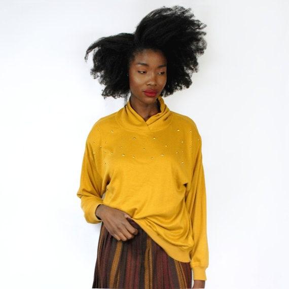 80s marigold knit crew neck dolman sleeve pullover