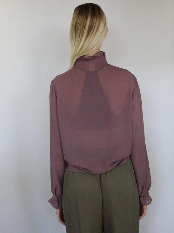 80s sheer mauve high neck ruffle button blouse, M… - image 5