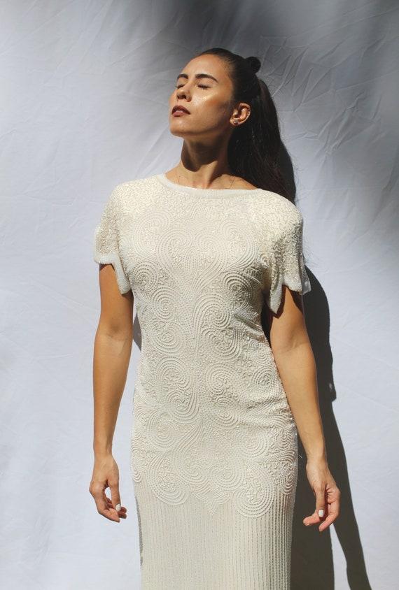 90s heavy beaded silk wedding dress, 20s inspired… - image 6