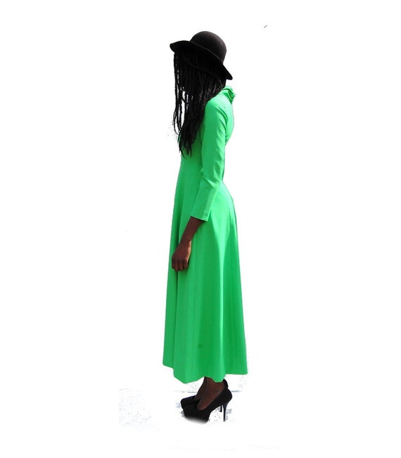 70s VINTAGE high neck long sleeve lime green maxi… - image 6