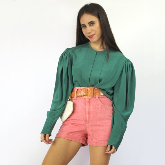 80s teal green pleated bishop sleeve blouse, Larg… - image 1