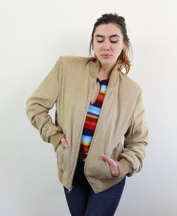 80s light beige suede letterman style jacket, Beig