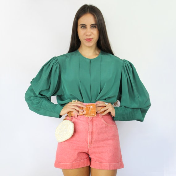 80s teal green pleated bishop sleeve blouse, Larg… - image 2
