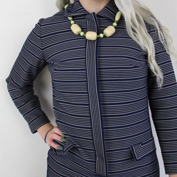 60s Blue and yellow striped Jackie O Mini Dress, … - image 7
