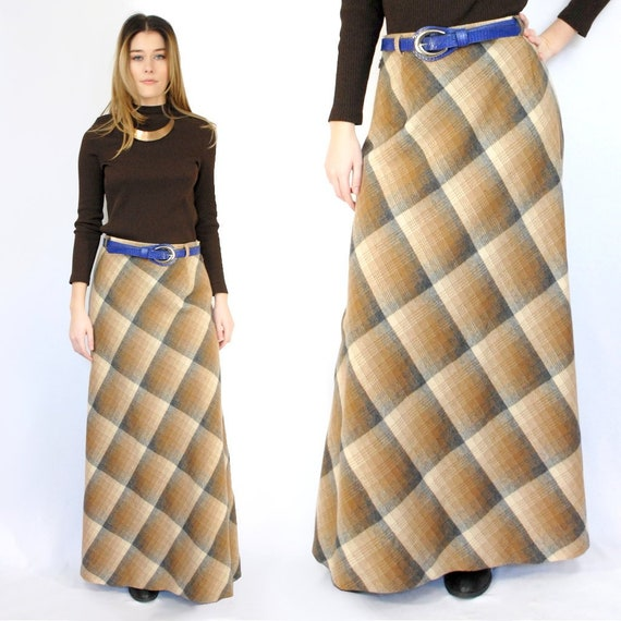 70s VINTAGE WOOL plaid A line maxi skirt, 29 inch