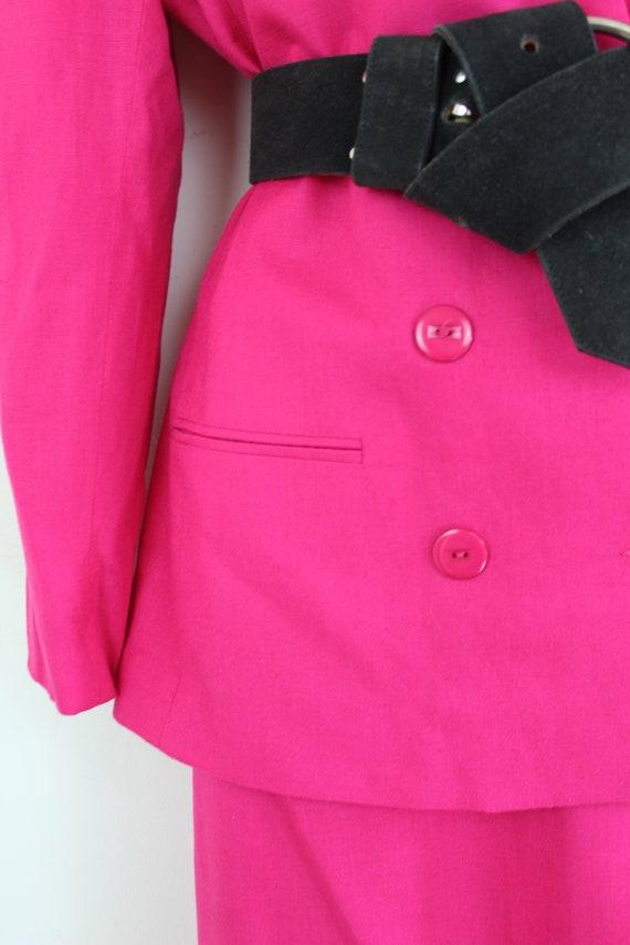 90s vintage hot pink linen blend blazer and skirt… - image 7