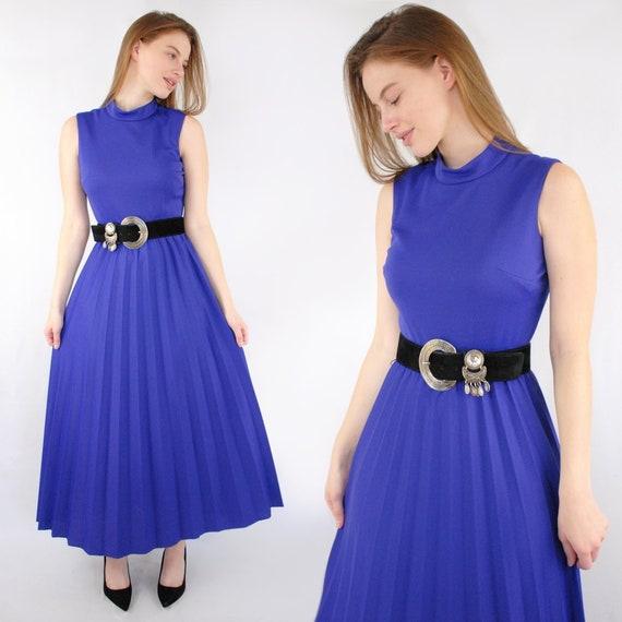 60s royal purple mock neck sleeveless pleated maxi