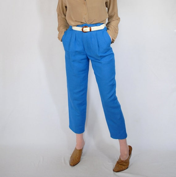 finest selection selected material variety styles of 2019 VINTAGE 90s blue linen trousers / linen blend pants / blue pants / high  waist / tapered trousers / 1990s clothing / 90s VINTAGE trousers