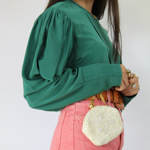 80s teal green pleated bishop sleeve blouse, Larg… - image 4
