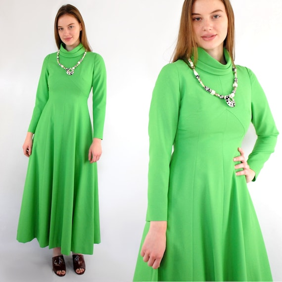70s VINTAGE high neck long sleeve lime green maxi… - image 2