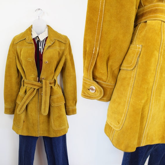 70s Vintage Mustard Suede Trench Coat, Small Mediu