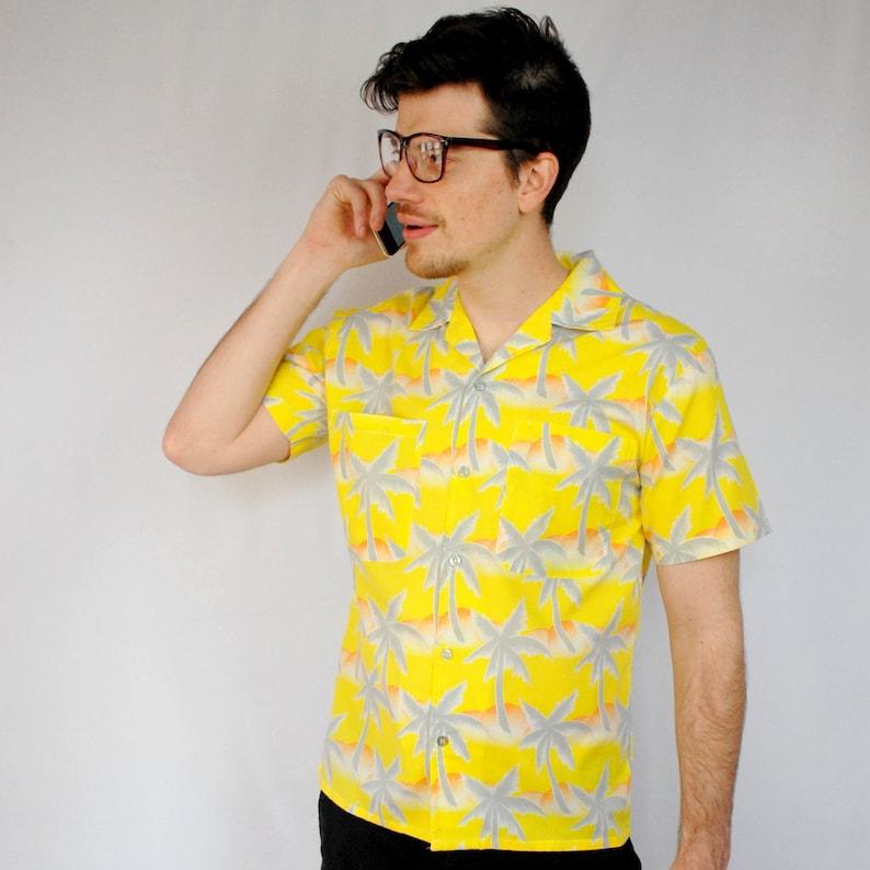 515ef668 Mens TROPICANA shirt / yellow tropical shirt / palm tree | Etsy