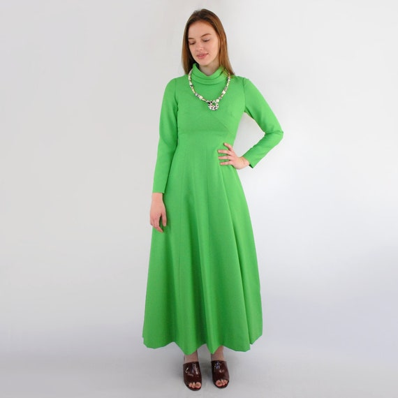 70s VINTAGE high neck long sleeve lime green maxi… - image 3
