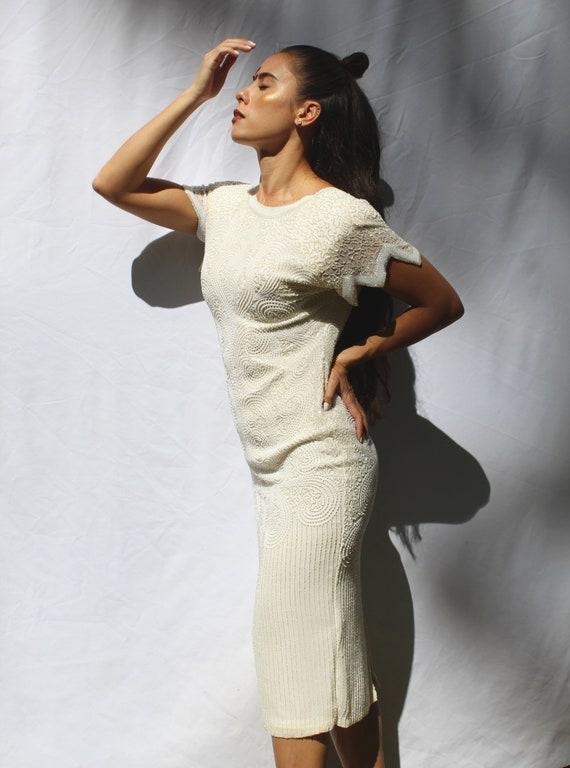 90s heavy beaded silk wedding dress, 20s inspired… - image 4