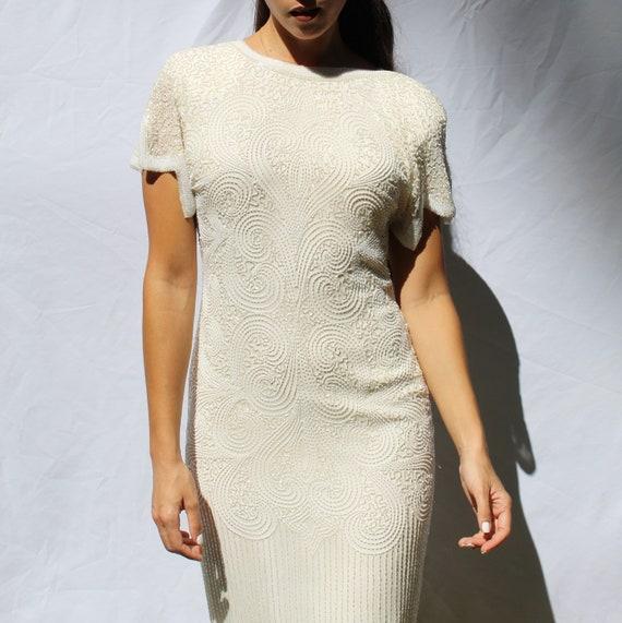 90s heavy beaded silk wedding dress, 20s inspired… - image 5