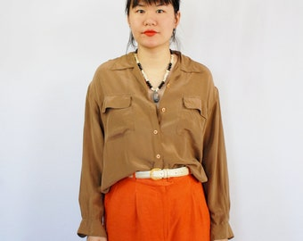 Beige long sleeve collared button front SILK blouse 1990s 90s VINTAGE