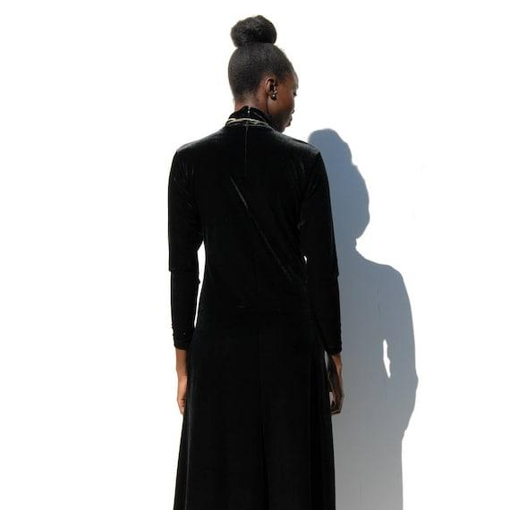 90s Vintage black velvet high neck maxi dress, GO… - image 6