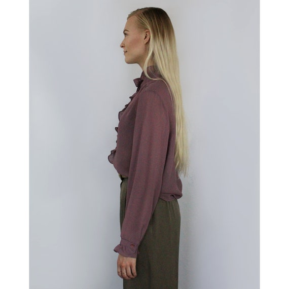 80s sheer mauve high neck ruffle button blouse, M… - image 4