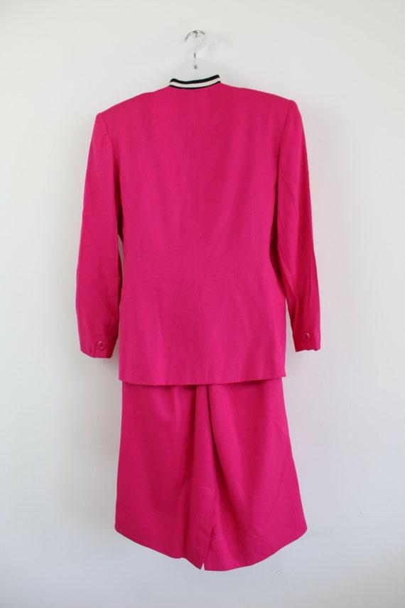 90s vintage hot pink linen blend blazer and skirt… - image 10
