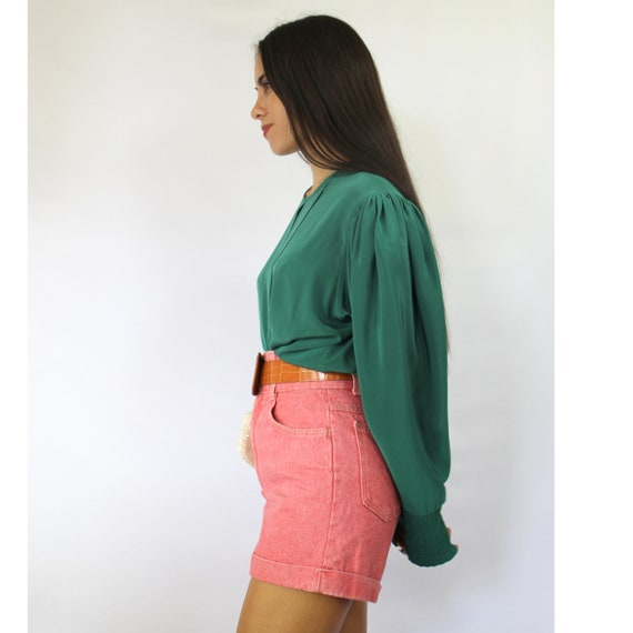 80s teal green pleated bishop sleeve blouse, Larg… - image 6