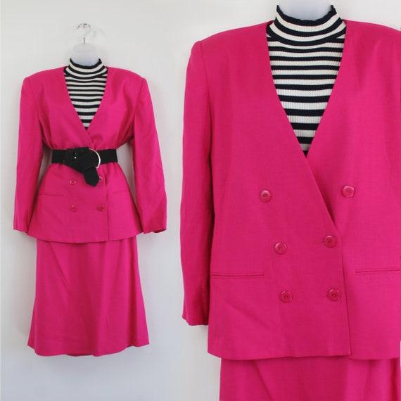 90s vintage hot pink linen blend blazer and skirt… - image 1