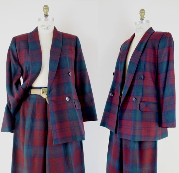 90s maroon and navy plaid wool women's pant suit,