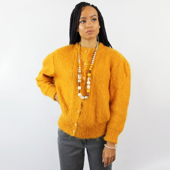 80s goldenrod yellow mohair sweater, Medium Large,