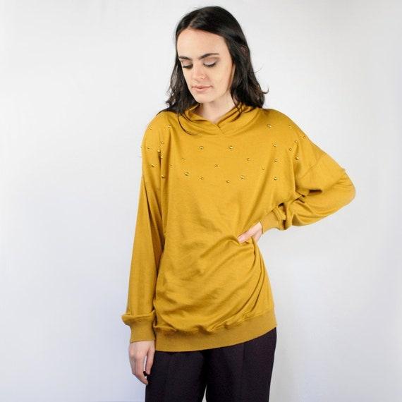 90s Marigold knit pullover, Mustard Dolman Sleeve,