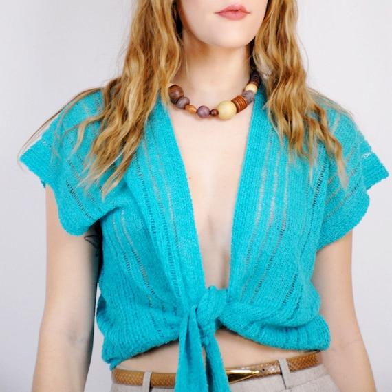 90s aquamarine thin loose knit slouchy tied sweate