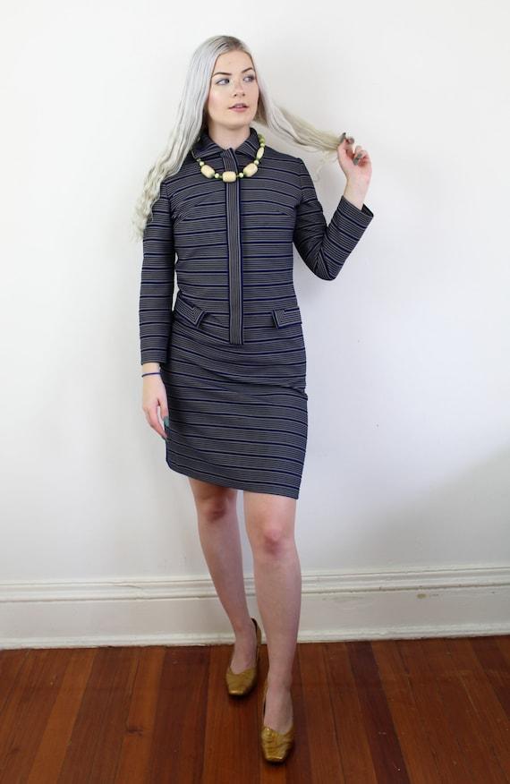 60s Blue and yellow striped Jackie O Mini Dress, … - image 3