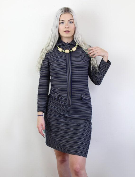 60s Blue and yellow striped Jackie O Mini Dress, … - image 4