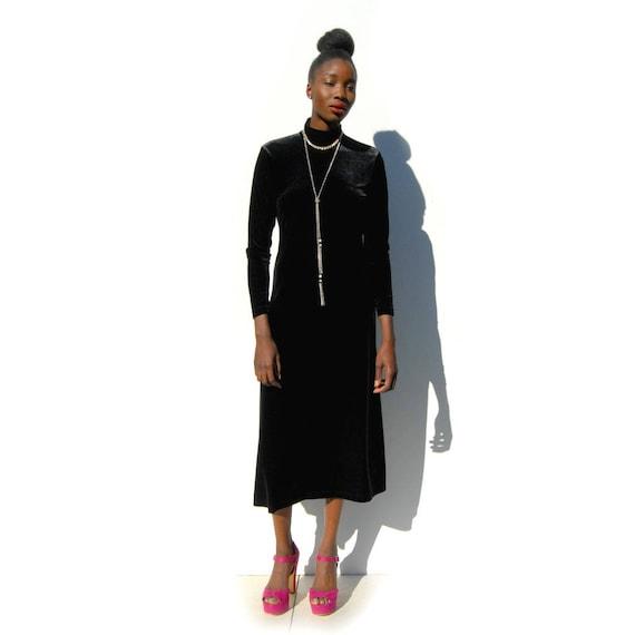 90s Vintage black velvet high neck maxi dress, GO… - image 2