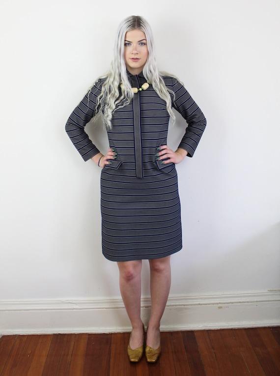 60s Blue and yellow striped Jackie O Mini Dress, … - image 6