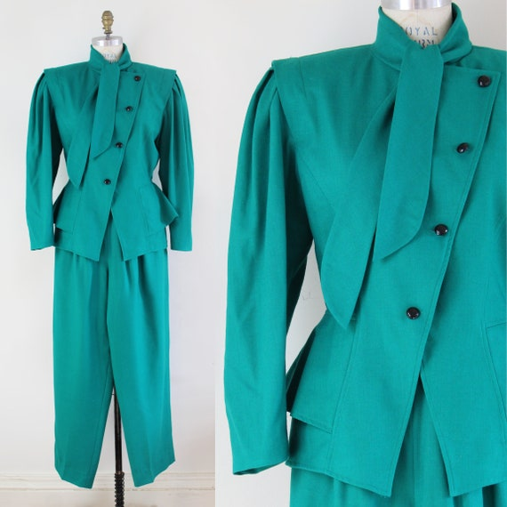 90s emerald green wool women's pant suit set with