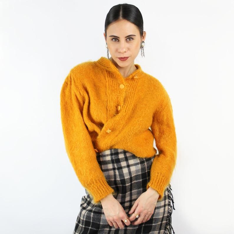 Fuzzy mohair sweater mustardgoldenrod sweater MOHAIR blend sweater cardigan  mustard cardigan 1980s clothing  80s VINTAGE sweater **
