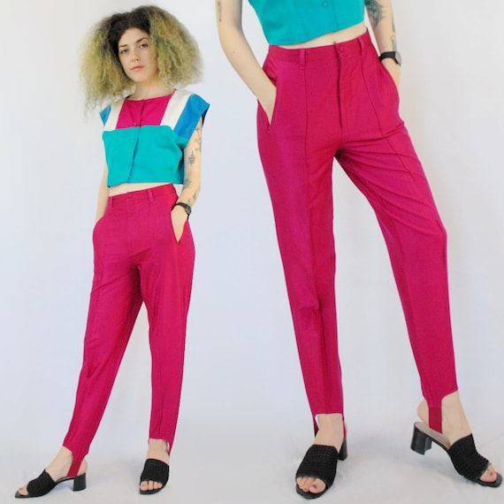 90s hot pink disco pants, Stretch Knit Stirrups, 2