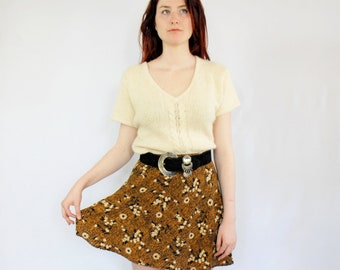 Black and mustard crosshatch with floral print mini A-line skirt 1990s 90s VINTAGE