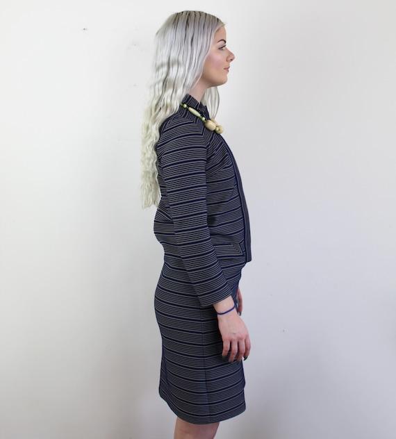 60s Blue and yellow striped Jackie O Mini Dress, … - image 9